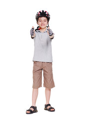 Little cyclist showing thumbs up full length portrait