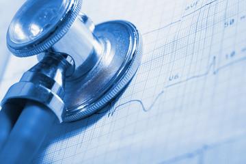 ECG and stethoscope medical examination tools