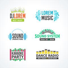 Fourth set of dj music equalizer logo vector
