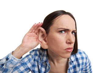 woman with one big ear listening