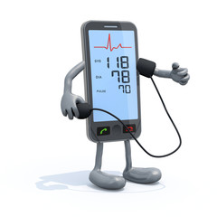 smartphone with arms and legs measure blood pressure