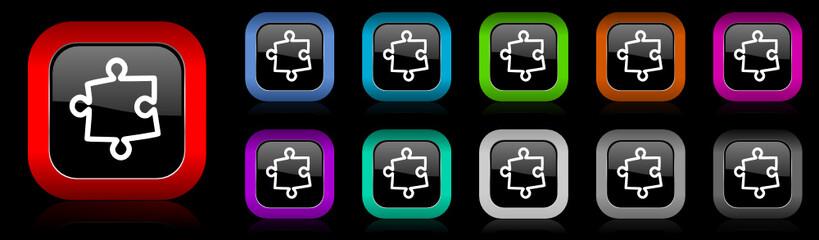 puzzle vector icon set