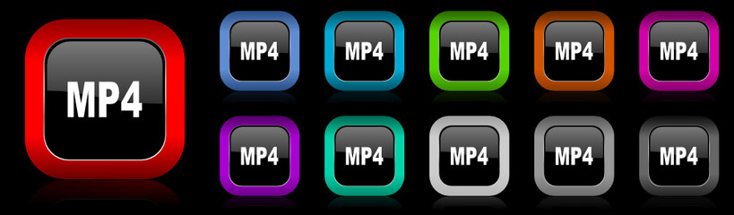 mp4 vector icon set
