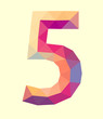 low poly polygon number digit five