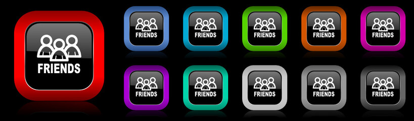 friends vector icon set