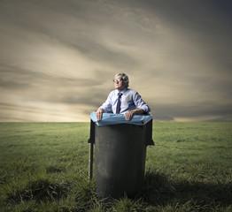 In the garbage bin