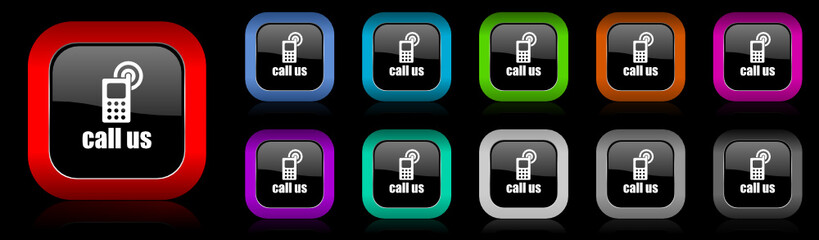 call us vector icons set