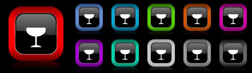 glass vector icon set