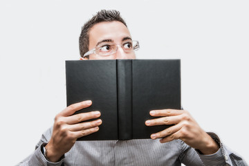 portrait of man reading a book