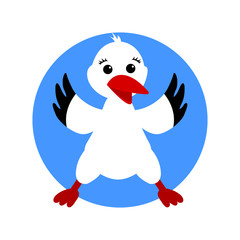 Stork. Cartoon bird isolated. Vector illustration
