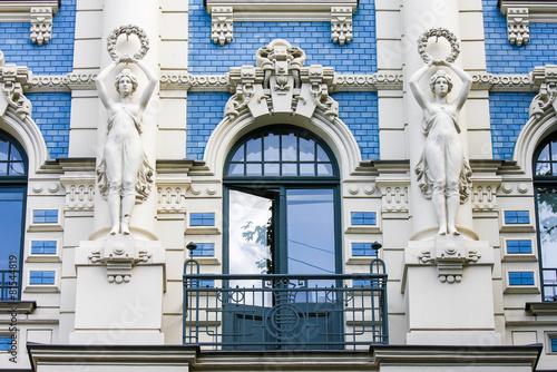 Staande foto Scandinavië Jugendstil house in Riga, Latvia