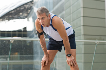 Jogger Resting After Running