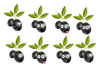 Funny set, collection of isolated, black olives with leaves and