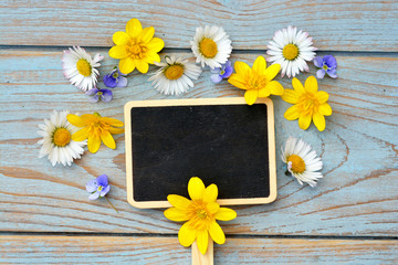 wooden background with black empty chalk board and fieldflowers