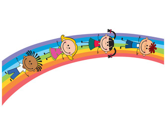 children on a rainbow, vector illustration