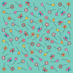 children vector background of flowers and butterflies