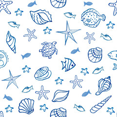 Seamless pattern with sea shells, star fish on the chalk Board.
