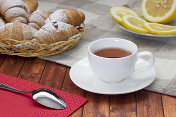 croissant with tea