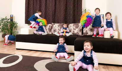 Group of little playful active child