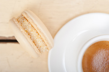 colorful macaroons with espresso coffee