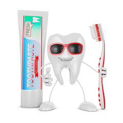 toothbrush and tube of toothpaste.