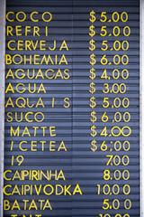 Brazilian Drinks Sign Rio de Janeiro Kiosk