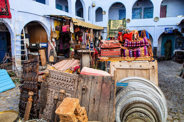 Bazaar in the alley, Chefchaouen, Morocco