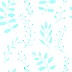 seamless blue nature pattern with leaves