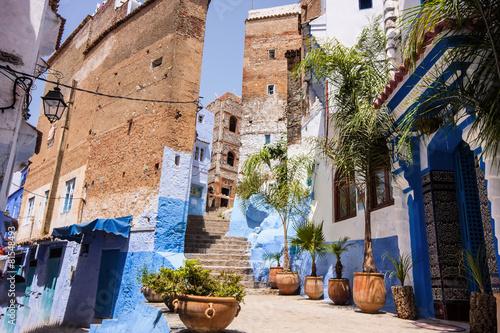 Papiers peints Maroc Blue White Lane, Chefchaouen, Morocco