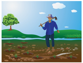 the agriculturist in farm vector design