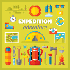 Expedition adventure - vector icons set in flat style design