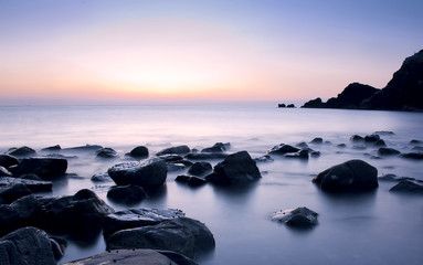 Beautiful serene sunrise in Al Aqqa beach, Fujairah, UAE