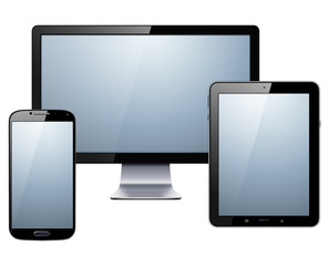 Electronic devices set - tablet, smartphone and monitor