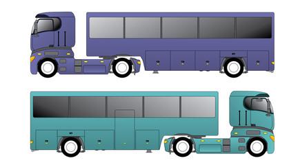 European truck pulling bus trailer