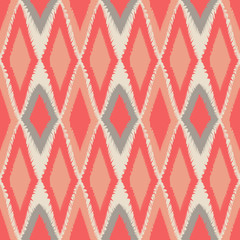 Abstract tribal art ethnic seamless Ikat pattern folk repeating