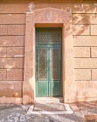 vintage green door, Athens, Greece