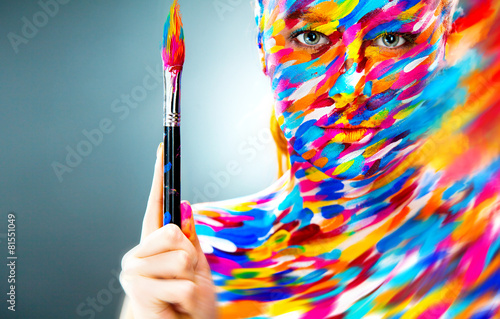 canvas print picture Portrait of the bright beautiful girl with art make-up and brush