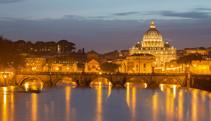 Rome - Angels bridge and St. Peters basilica