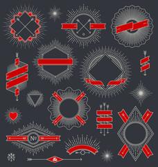 Set of line design emblem, sign and labels with sunburst