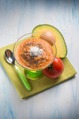 gazpacho with avocado tomato seeds poppy and cream sauce