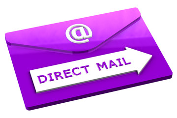 Purple envelope with words direct mail