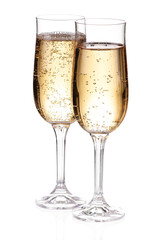 Two glasses with champagne. Isolated
