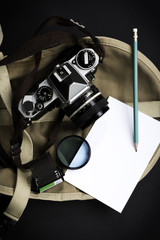 photography film camera and pencil with blank photo