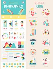 Beach Infographic set