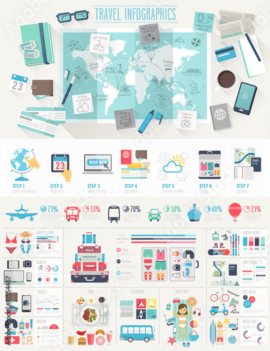 Fotobehang Ontspanning Travel Infographic set