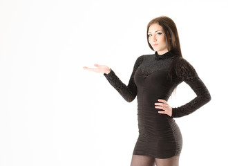 girl in black dress on a white background
