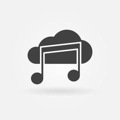 Sound cloud black vector icon or logo