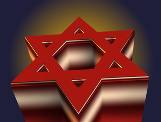stylized image of a red Star of David