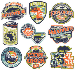 Adventure badges vector collection