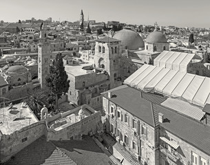Jerusalem - old town with the Church of Holy Sepulchre.